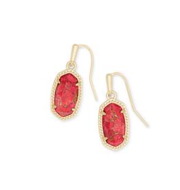 KENDRA SCOTT Lee Gold Drop Earrings in Bronze Veined Red Magnesite
