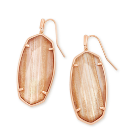 KENDRA SCOTT Faceted Elle Rose Gold Drop Earrings in Gold Dusted Pink Illusion