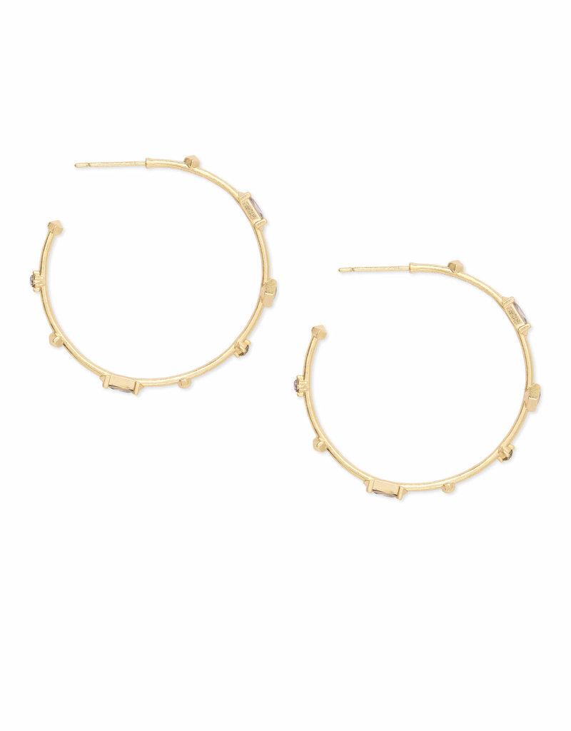 KENDRA SCOTT Rhoan Hoop Earrings Gold Clear Crystal