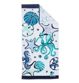 Beach Towel Double Sided Mint Sea Life