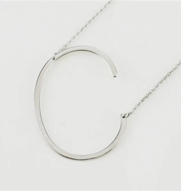 C Sideways Initial Necklace
