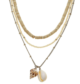 CANVAS Beachcomber Layered Shell Necklace Neutral