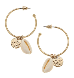 CANVAS Beachcomber Shell Hoop Earrings Neutral