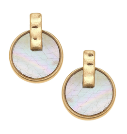 CANVAS MOTHER OF PEARL SIENA STUD EARRINGS GOLD