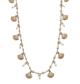CANVAS NANTUCKET NECKLACE CLAMSHELLS GOLD