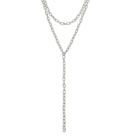 CANVAS PILAR LAYERED CHAIN Y NECKLACE SILVER