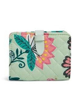 VERA BRADLEY Iconic RFID Small Wallet Mint Flowers