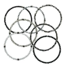 CJ BELLA CO Stackin' Stones Bracelet Blk/Slv Tones
