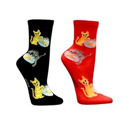 FOOZY'S Unisex Crew Socks Cat & Fish Bowl