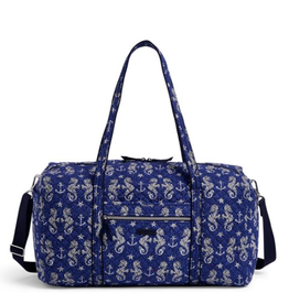 VERA BRADLEY Iconic Large Travel Duffel Seahorse of Course