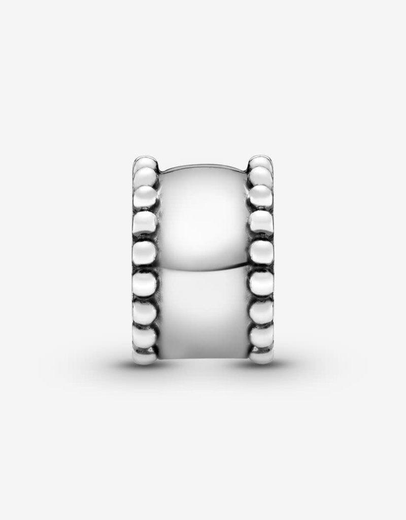 PANDORA Beaded Round Clip Charm -Silver