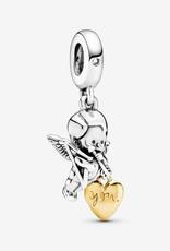 PANDORA Cupid and You Heart Dangle Charm/Pandora Shine/Sliver