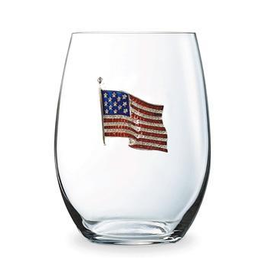 Stemless  Glass AMERICAN FLAG