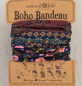 NATURAL LIFE CREATIONS Boho Bandeau Wine Floral Border