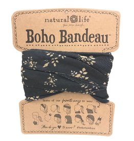 NATURAL LIFE CREATIONS Boho Bandeau Black Cream Floral