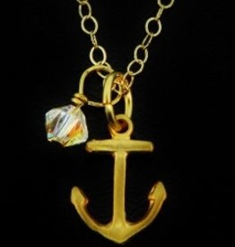 SOSIE DESIGNS JEWELRY Gold Necklace Anchor w/Crystal