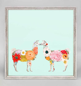 GREEN BOX ART 6x6 Mini Framed Canvas Llama Flower Girls