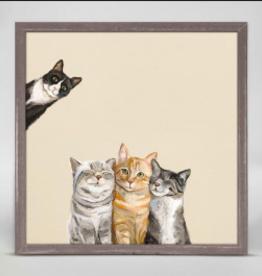 GREEN BOX ART Framed Canvas Three Cats Plus One 6X6