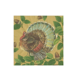 CASPARI Paper Cocktail Napkins Turkey and Acorns in Gold