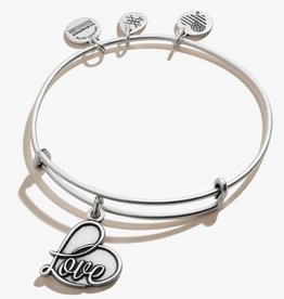 ALEX AND ANI Charm Bangle 'Love' in Silver