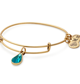 ALEX AND ANI Charm Bangle December Birthstone, Blue Ziron in Gold