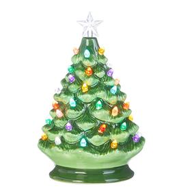 "RAZ Ceramic Lighted Tree Green 8"""