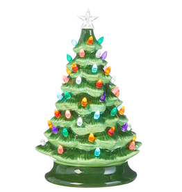 "RAZ Ceramic Lighted Tree Green 13"""