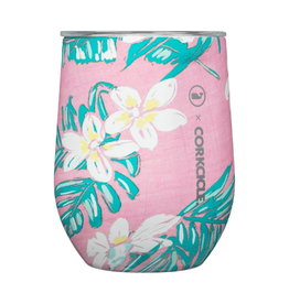 CORKCICLE 12 oz Stemless Vineyard Vines Pink Tropical Flowers
