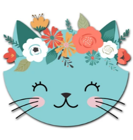 OUTSIDE THE BOX GIFTWARE Floral Cat Button