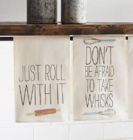 MUDPIE Dish Towel Don't Be Afraid