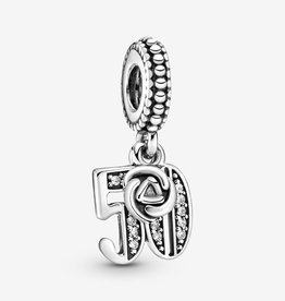 PANDORA 50 Years of Love, Clear CZ silver dangle with clear cubic zirconia