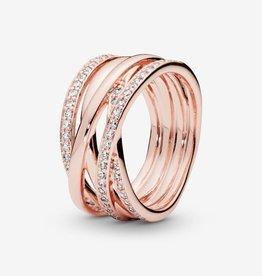 PANDORA Sparkling & Polished Lines Ring in Rose Gold Size 6