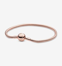 PANDORA Moments Snake Chain Bracelet in Rose Gold Size 6.7""
