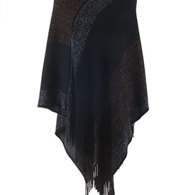 Knit Poncho Black/Silver/Bronze