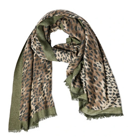 TOP IT OFF Amira Leopard Scarf Olive