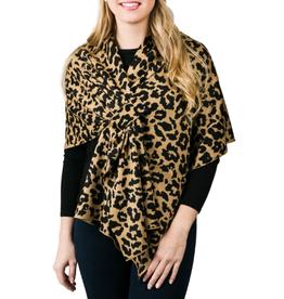 TOP IT OFF Katie Knit Keyhole Wrap Leopard