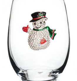 Stemless Wine Glass Snowman