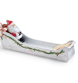 MUDPIE Cracker Dish Ceramic Santa
