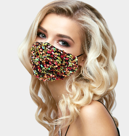 Face Mask  Pink Yellow Sequins