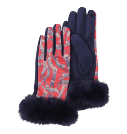 RAINCAPER BY GAZEBO GREEN Texting Gloves Fur Trimmed - Navy Cool Cats