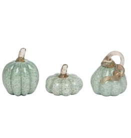 Small Glass Green Pumpkins w/Gold Accents