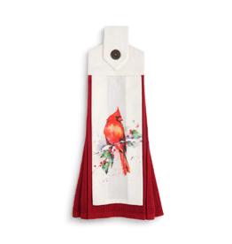 Cardinal & Holly Button Loop Tea Towel