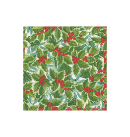 CASPARI Holly & Mistletoe Cocktail Napkin