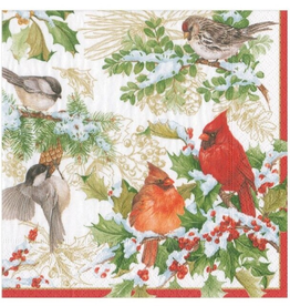 CASPARI Christmas Birds Cocktail Napkin