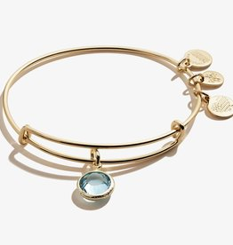 ALEX AND ANI Charm Bangle Aquamarine March Birthstone , Shiny Gold