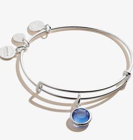 ALEX AND ANI Charm Bangle Sapphire September Birthstone, Shiny Silver