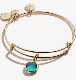 ALEX AND ANI Charm Bangle December Blue Zircon Birthstone Shiny Gold