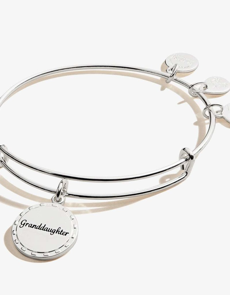 Charm Bangle Granddaughter By Your Side Shiny Antique Silver Heart And Home