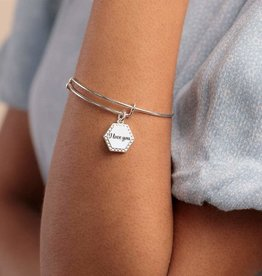 ALEX AND ANI Charm Bangle I Love You IV
