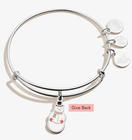 ALEX AND ANI Charm Bangle Charity By Design Color Infusion Snowman Shiny Silver